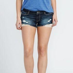 🛍3/30$ Dark blue denim jeans with lace trim